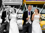Happy Times - Groom and Bride enjoying ice creams on their wedding.