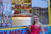 Prom girl enjoying Ice Cream at Mister Nice Cream's Van.