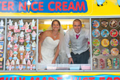 Bride and Groom surprise Friends and Family by arriving in Mister Nice Cream's Ice Cream Van